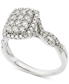 Diamond Cluster Wavy Band Engagement Ring (1 ct. t.w.) in 14k White Gold