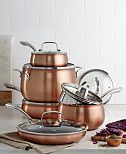 Belgique Copper Translucent 11-Piece Cookware Set, Created for Macy's