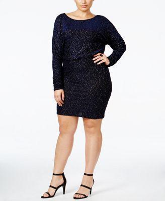 Jessica Howard Plus Size Glitter Blouson Dress
