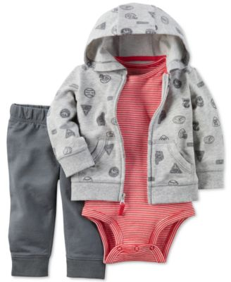 baby burberry outlet smkn  Carter's 3-Pc Sports-Print Hoodie, Bodysuit & Pants Set, Baby