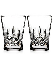 Waterford Lismore Pops Clear Double Old Fashioned Glass Pair