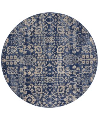 "CLOSEOUT! Moraine MO757 Navy 5'6"" Round Area Rug"