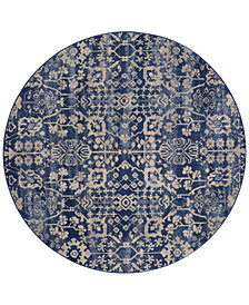 "CLOSEOUT! Nourison Moraine MO757 Navy 5'6"" Round Area Rug"