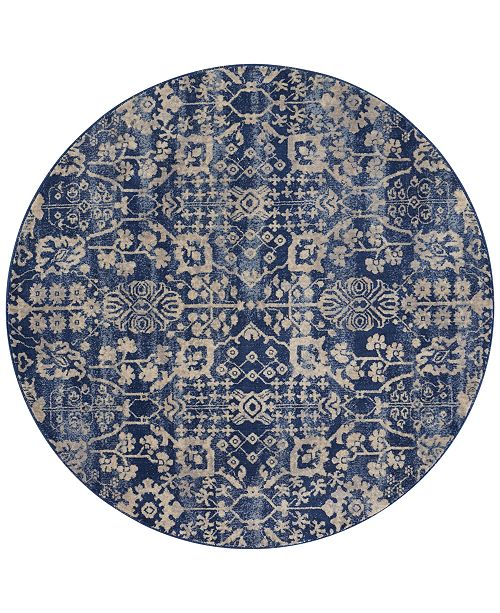 "Nourison CLOSEOUT! Moraine MO757 Navy 5'6"" Round Area Rug"