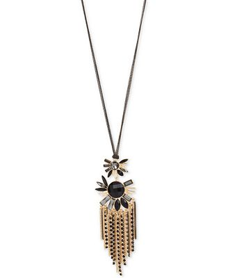 M. Haskell for INC International Concepts Gold-Tone Jet Stone Tassel Pendant Necklace, Only at Macy's