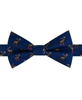 Tommy Hilfiger Men's Moose Boots Print Pre-Tied Bow Tie