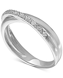 giani bernini cubic zirconia pav crossover ring in sterling silver only at macys - Wedding Rings Macys