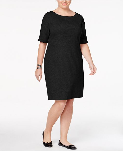 275c641ded6 ... Karen Scott Plus Size Elbow-Sleeve T-Shirt Dress
