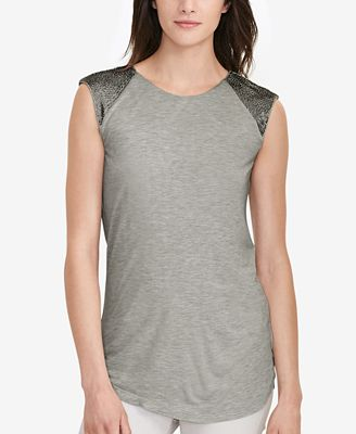 Lauren Ralph Lauren Beaded Cap-Sleeve Shirt