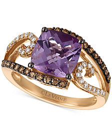 Le Vian Chocolatier® Amethyst (2-3/4 ct. t.w.) and Diamond (3/8 ct. t.w.) Ring in 14k Rose Gold