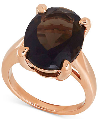 Smoky Quartz Statement Ring 9 1 2 ct t w in 14k Rose Gold Rings Jewelry & Watches Macy s
