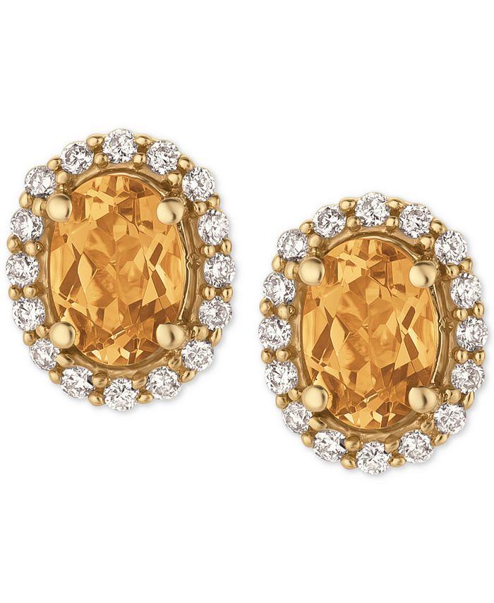 Le Vian - Yellow Beryl (1-1/10 ct. t.w.) and Diamond (1/4 ct. t.w.) Stud Earrings in 14k Gold