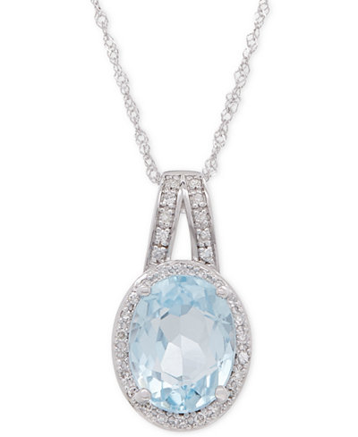 Aquamarine (1-1/2 ct. t.w.) and Diamond (1/10 ct. t.w.) Pendant Necklace in 14k White Gold