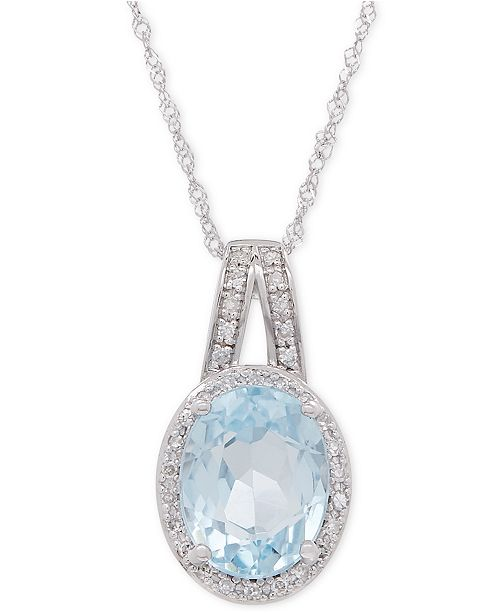 Macy's Aquamarine (1-1/2 ct. t.w.) and Diamond (1/10 ct. t.w.) Pendant Necklace in 14k White Gold