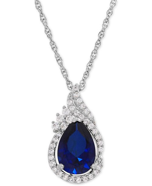 Macy's Lab-Created Sapphire (2-3/8 ct. t.w.) and White Sapphire (1/4 ct. t.w.) Teardrop Pendant Necklace in Sterling Silver