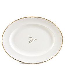 "Vera Wang Wedgwood ""Gilded Leaf"" Oval Platter, 13.75"""