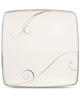 Dinnerware, Platinum Wave Large Square Accent Plate