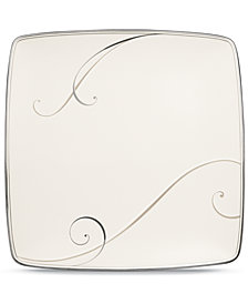 Noritake Dinnerware, Platinum Wave Large Square Accent Plate