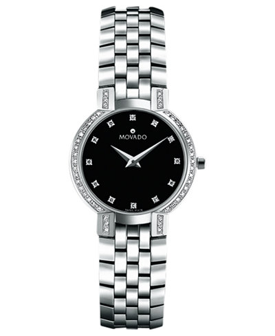 Movado women 39 s swiss faceto stainless steel bracelet watch 25mm 0605586 watches jewelry for Watches zales