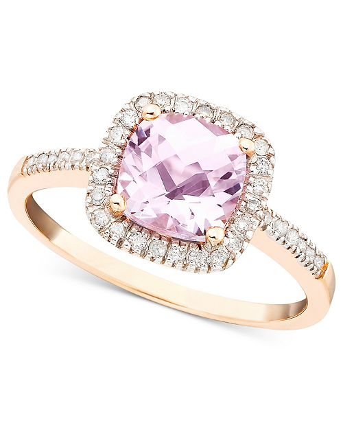 Macy's Pink Amethyst (1-1/3 ct. t.w.) and Diamond (1/5 ct. t.w.) Ring in 10k Rose Gold