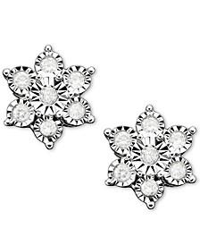 Diamond Flower Stud Earrings in 10k White Gold (1/10 ct. t.w.)