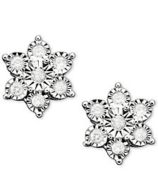 Diamond Flower Stud Earrings in 10k White Gold (1/10 ct. t.w.)