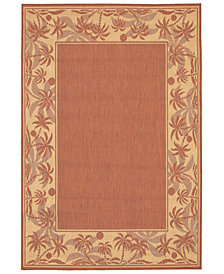 "CLOSEOUT! Couristan Area Rug, Recife Indoor/Outdoor 1222/1122 Island Retreat Terra-Cotta-Natural 7' 6"" Square"