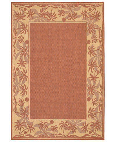 CLOSEOUT! Couristan Area Rug, Recife Indoor/Outdoor 1222/1122 Island Retreat Terra-Cotta-Natural 5' 3