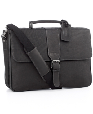 Kenneth Cole Reaction Columbian Leather Double Gusset Laptop Briefcase