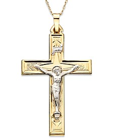 14k Gold Two-Tone Large Crucifix Pendant