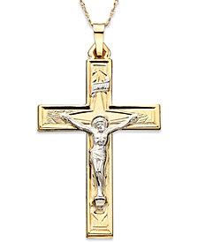 14k Gold Two-Tone Large Crucifix Pendant