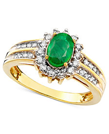Emerald (3/4 ct. t.w.) and Diamond (3/8 ct. t.w.) Ring in 14k Gold