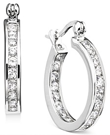 "Small Cubic Zirconia Inside Out Hoop Earrings in Sterling Silver, 0.75"", Created for Macy's"