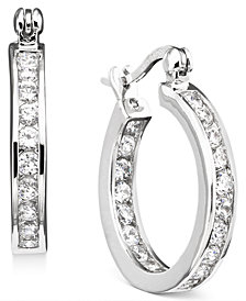 Giani Bernini Small Cubic Zirconia Inside Out Hoop Earrings in Sterling Silver, Created for Macy's