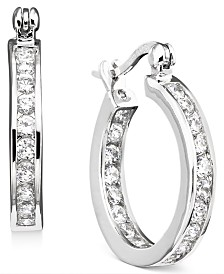 "Giani Bernini Small Cubic Zirconia Inside Out Hoop Earrings in Sterling Silver, 0.75"", Created for Macy's"