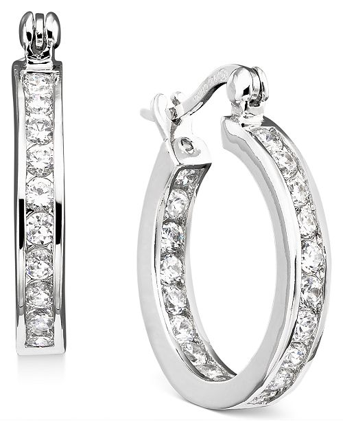 Giani Bernini Small Cubic Zirconia Inside Out Hoop Earrings In Sterling Silver 0 75