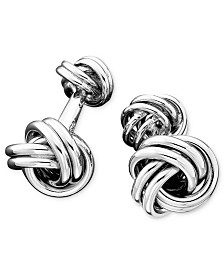 Men's Sterling Silver Love Knot Cuff Links