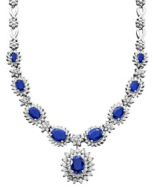 Royalty Inspired by EFFY Sapphire (4-3/8 ct. t.w.) and Diamond (1-2/3 ct. t.w.) Necklace in 14k White Gold, Created for Macy's
