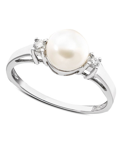 Cultured Freshwater Pearl & Diamond (1/10 ct. t.w.) Ring in 14k White Gold