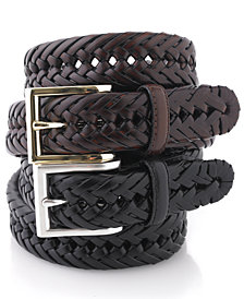 Club Room Leather Braided Belt