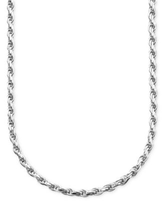 Sterling Silver Necklace, Diamond Cut Rope