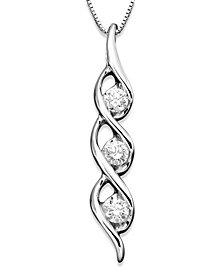 Sirena Diamond Twist Pendant Necklace in 14k White Gold (1/2 ct. t.w.)