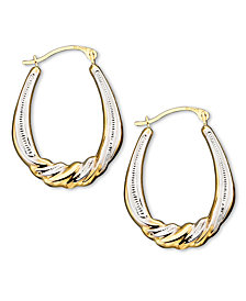 10k Two Tone Gold Hoop Earrings
