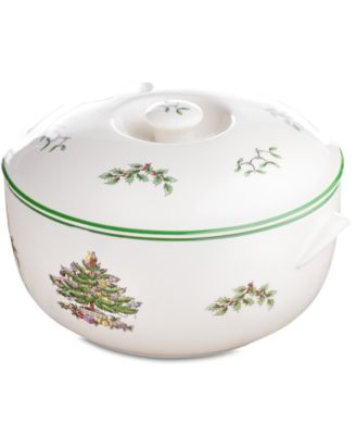 Christmas Tree Round Covered Casserole