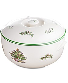 Christmas Tree Round Covered Casserole Dish
