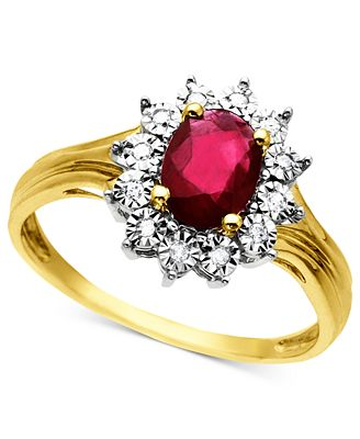 10k Gold Ring Ruby 3 4 ct t w and Diamond Accent Rings