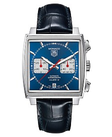 TAG Heuer Men's Swiss Automatic Chronograph Monaco Blue Croc Embossed Leather Strap Watch 39mm