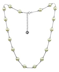 Majorica Sterling Silver Necklace, Organic Man-Made Pearl Illusion