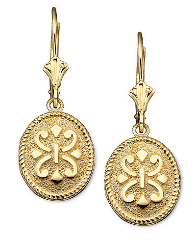 14k Gold Earrings Oval Etruscan