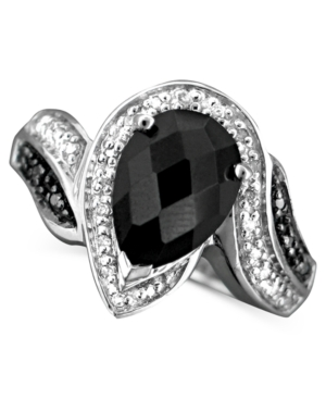 Sterling Silver Ring, Onyx and Diamond (1/10 ct. t.w.)
